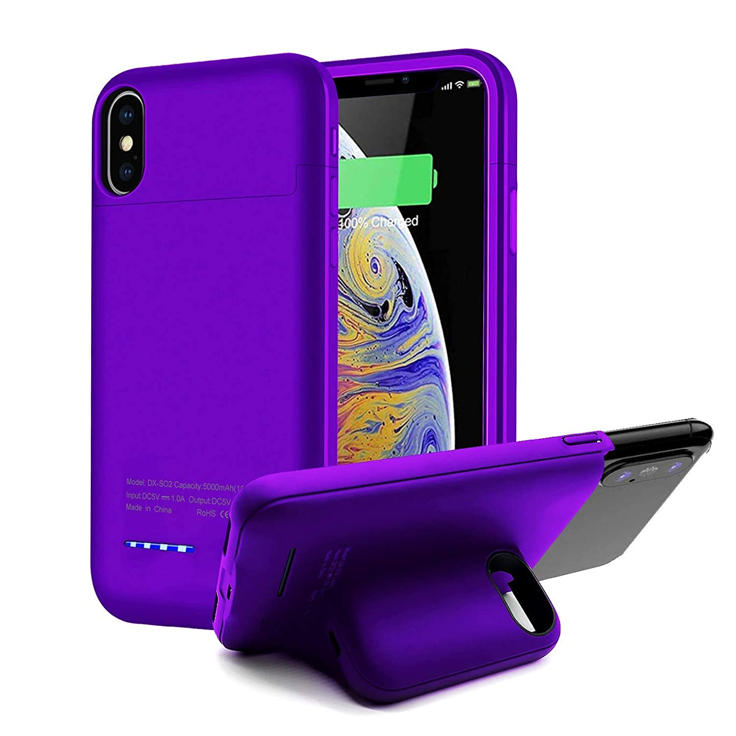 Battery Case for iPhone Xs Max, Upgraded KZNXCVI 5000mAh Battery Case with Magnetic Stand Design, Slim Extended Battery Charger Case for iPhone Xs Max 6.5