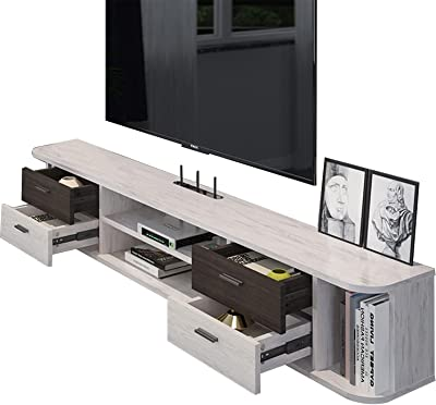 Floating TV Stand Wall Mounted Media Console,Versatile TV Stand,Stable Structure,Hidden Management Wires (Color : B)