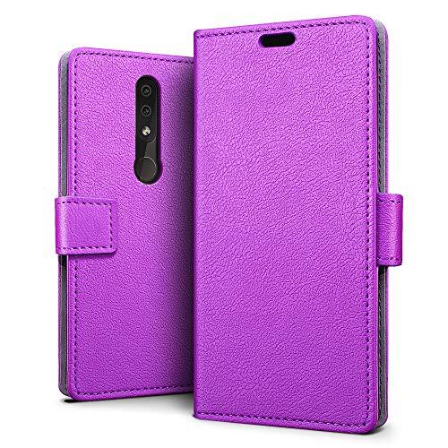SLEO Custodia per Nokia 4.2, [Premium Portafoglio Protettiva] Wallet Cover per Nokia 4.2, 2-Scheda Slot, [PU Pelle] Morbido Impermeabile Antipolvere Protezione - Viola