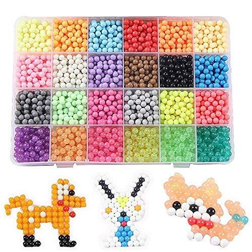 Funnyshow 24 Farben 3000 Perlen mit Komplett-Set und Anleitung für Aqua Pearl und Beados Art Crafts Spielzeug für Kinder DIY Geschenk für Geburtstag Weihnachten