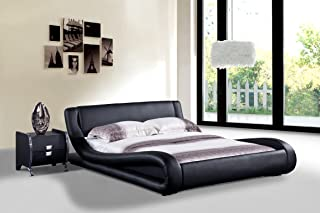 US Pride Furniture Dona Faux Leather Modern Bed, California King, Black