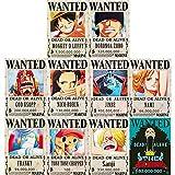 FFNNKN One Piece Wanted Posters Nueva Edición Luffy 1.5 Mil Millones de Anime Conjunto de Carteles Decorativos De 10Pcs 42 * 29cm