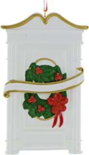 Personalized White Door Christmas Tree Ornament 2019 - Our New Apartment Ribbon Garnished Wreath 1st Elegant Front First Home House-Mate Room Year - Free Customization