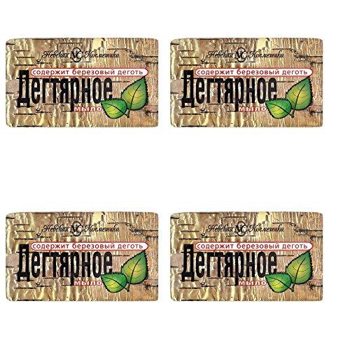 4 Stück (4 x 140g) Teer Seife (Birkenteer) gegen Dermatitis Akne Birkenseife aus Russland