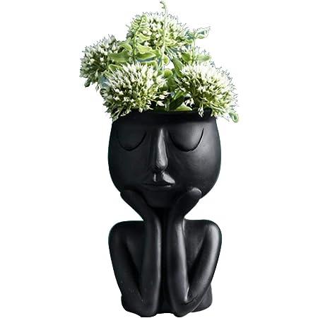 Atlnso Creative Vase à personnage nordique pour plantes succulentes Pot de fleurs abstrait pour intérieur et bureau Noir