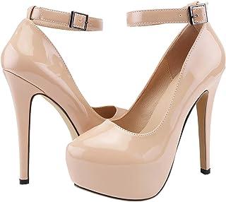 SHOESFEILD Platform Heels for Women, Classic Round Toe High Heel with Ankle Strap Slip On Dress Pumps