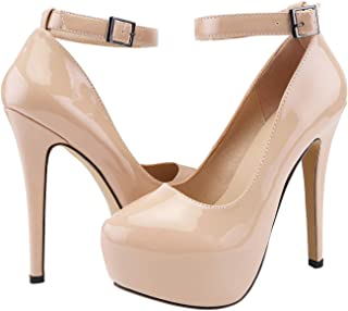 SHOESFEILD Platform Heels for Women, Classic Round Toe High Heel with Ankle Strap Slip On Dress Pumps