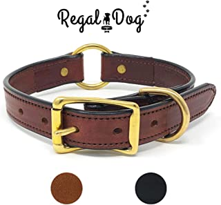 Leather Dog Collar with Heavy Duty Center Ring | for Small, Medium, Large, or XL Dogs