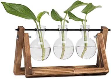 Hyindoor Florero de Vidrio para Planta Hidropónica Florero de Bulbos de 3 Jarrones de Bombilla Cristal con Soporte de Madera