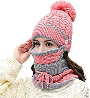 feelingood Knit Hat - Women Knitted Beanie Scarf Hat Face Mask Set Snood Neck Winter Pompom Cap Thicken
