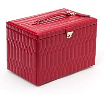WOLF Caroline Extra Large Jewelry Case, 10.5x16.25x11, Red