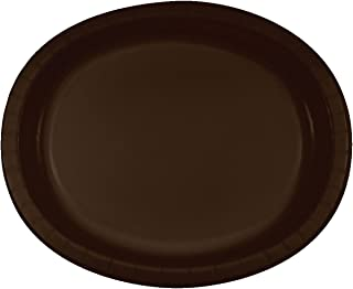 Creative Converting 8 Count Oval Paper Platters, Chocolate Brown