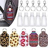 Empty Travel Size Bottle for Hand Sanitizer Keychain Holder 30 ml Flip Cap Reusable Bottles with Keychain Carriers Refillable Bottles for Soap Liquids (sunflower)