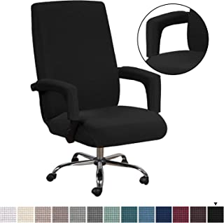 H.VERSAILTEX Office Chair Cover Black - Protective & Stretchable Universal Chair Covers Stretch Rotating Chair Slipcover Jacquard Computer Office Chair Cover, Machine Washable, Large