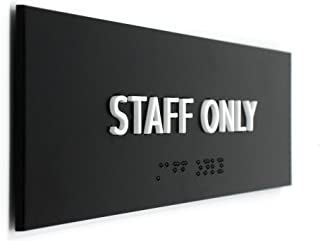 Kubik Letters ADA Compliant Staff Only Sign, Modern Design Door Sign for Employees Only Area with 3M Double Sided Tape and Grade 2 Braille Alphabet