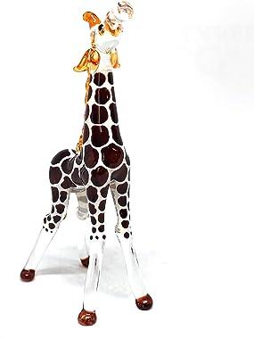 ZOOCRAFT Glass Giraffe Figurine Collectible Hand Blown Safari Miniature Animals Collectibles Home Decoration Statues