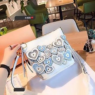 Outdoor Travel Creative Sweet Lady PU Handbag/Flower Bucket Bag/Flower Ms. Shoulder Bag. jszzz (Color : White)