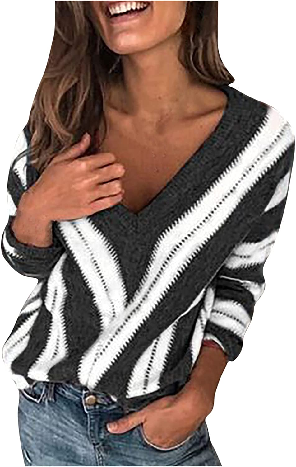 Womens Blouses for Work Fashion Autumn Stripe Print Sweater V-Neck Long Sleeve Knitted Shirt Casual Daily Tops