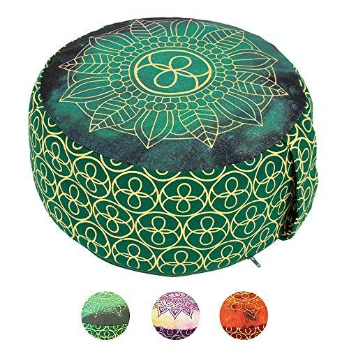 Lotus Design Meditationskissen/Yogakissen rund, Chakra Style, 15 cm hoch, Bezug 100{aea80793261a92bbc1b9e9ec7e90872613118b865ccaa5567299dcedcdd1e59f} Baumwolle waschbar, Yoga-Sitzkissen mit Buchweizenschalen, sozial und fair