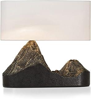 YUXINYAN Lampe de Salon à Poser Lampe de Table Montagne Type Résine Art Déco Lampe de Chevet avec Abat-Jour Blanc en Tiss...
