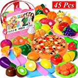 Cutting Toys, 45 PCS Play Cutting Food Kitchen Toy Cutting Fruits Vegetables Pretend Food Playset...