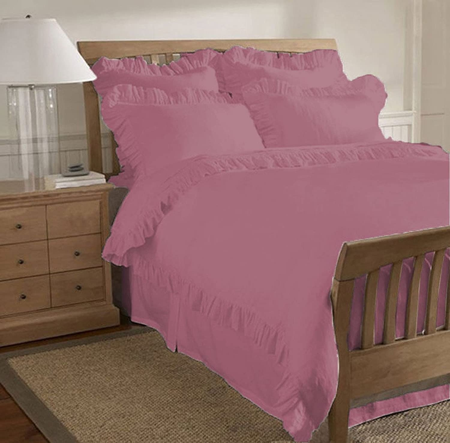 Scalabedding 500TC Coton égypcravaten 1pièce Edge volants traditionnel Housse de couette California King Magenta