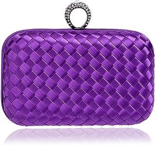 DIEBELLAU Ladies Weaving Clutch Bag Temperament Cheongsam Bride Dress Pouch Bag (Color : Purple, Size : XS)