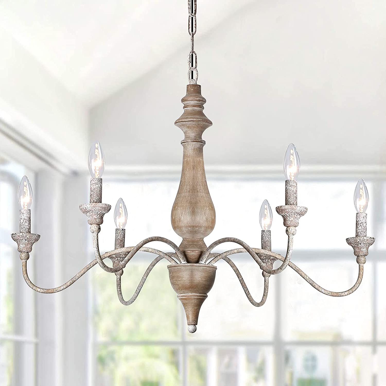 TA 6 Light National uniform free shipping French Country Arms Rust Wood Chandelier Luxury goods Imitation