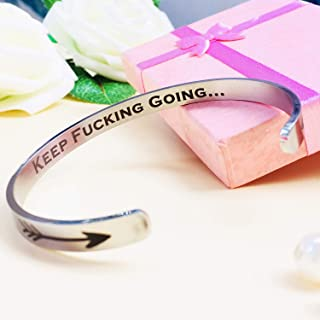 Engraved Bracelets Inspirational Cuff Bracelets Motivational Mantra Quote Keep Going Stainless Steel Bracelet for Women Teen Girls Kids Sister - Friend/Encouragement/Family Jewelry Gift