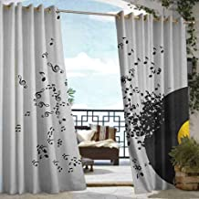 Andrea Sam Balcony Curtains Music,Abstract Design Flying Music Notes Disc Album Dancing Nightclub Print, Ivory Black and Yellow,W72 xL96 Thermal Insulated Water Repellent Drape for Balcony