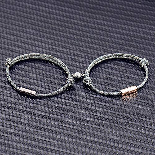 Pulseras 1 par de pulseras con nombre personalizado La promesa de amor eterno imán atrae a los demás acero inestable para parejas, hombres y mujeres sin grabado.
