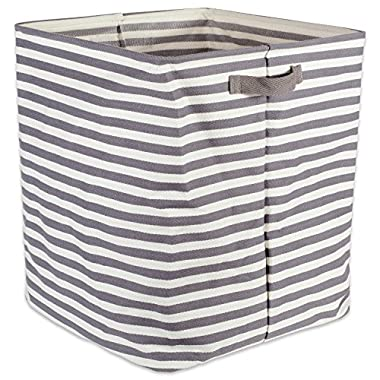 DII Cabana Stripe Collapsible Waterproof Coated Anti-mold Cotton Rectangle Hamper, Perfect For Laundry Room, Bedroom, Nursery, Dorm, Closet, and Home Organization, 16 x 16 x 19  - Gray