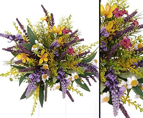 kunstpflanzen-discount.com Kunstblumenstrauß aus Lavendel und Wiesenblumen gemischt, Gesamthöhe inkl. Stiel ca. 20cm - Blumenstrauss Kunstblume Wiese Blumendeko