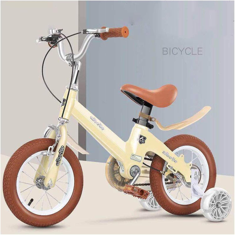 子供のためのトレーニングホイール付き自転車、12 14 16 18インチ自転車ペダル安全ブレーキ簡単組み立て軽量マグネシウム合金構造 - ベージュ用男の子女の子最高の贈り物