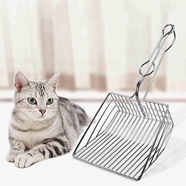 DaoAG Pet Cat Toilet Litter Scoops Metal Cat Litter Scoops With Handle Hollow Clean Shovel Portable Cat Litter Shovel Cat Box Scoop For Efficiently Cleaning Silver