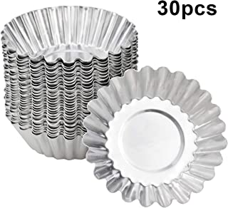 HQdeal 30 Piezas Molde de Tartaleta de Huevo Aluminio, Moldes Mini Tartaletas,Molde para Magdalenas, Moldes para Hornear, Molde del Pudin para Galletas,no Adhesivo y Reutilizable, Plateado