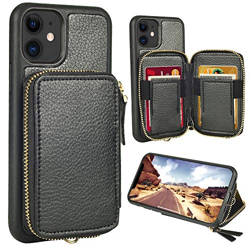 ZVE iPhone 11 Wallet Case,iPhone 11 case, iPhone 11 Zipper Wallet Leather Case with Credit Card Holder Slot Wrist Strap Handbag Purse Protective Case for Apple iPhone 11 6.1''2019 - Black