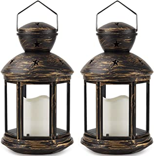 Bright Zeal/Pack of 2/ Bronze Hexagon Decorative Lantern with LED Candle - LED Lanterns Battery Operated Decorative - Hang...