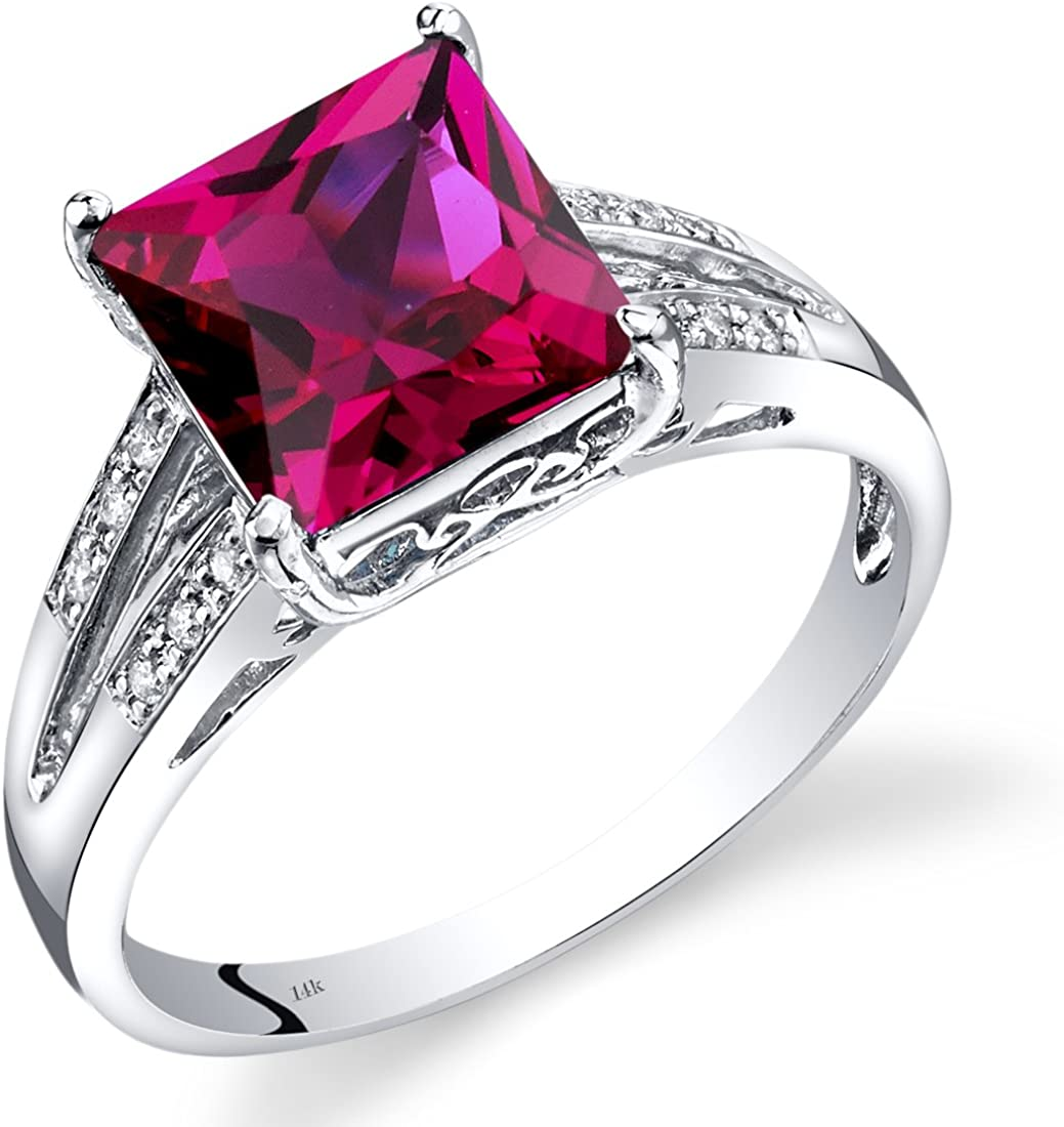 14K White Gold Created Ruby Diamond Ring Princess Cut 3 Carats Total