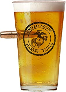 Officially Licensed USMC Pint Glass - Hand Blown Glasses - Real 50 Cal Design - Marine Corps Gifts - 16 Oz. - USMC Veteran...