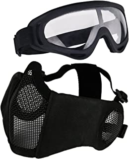 Aoutacc Airsoft Mesh Mask, Half Face Mesh Masks with Ear Protection and Tactical Goggles Set for CS/Hunting/Paintball/Shooting