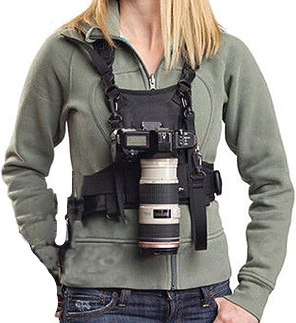 Nicama - Chaleco con arnés para cámara con bujes de Montaje y Correas de Seguridad para Senderismo Canon 6D 5D2 5D3 Nikon D800 D810 Sony A7S A7R A7S2 Sigma Olympus DSLR