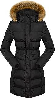 Women's Long Down Jacket Thickened Outwear Fur Trim Hooded Coat E33335 Black