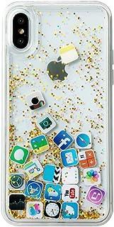 iPhone XR ケース キラキラ 創意 流れる ios icon APP 図面 多彩な 液体入り 流動の砂 アイフォン XR 携帯バンパー カバー (iPhone XR, Gold)