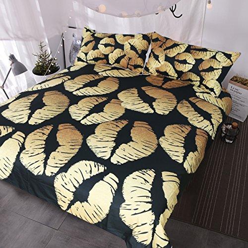 BlessLiving Black Stylish Bedding Chic Gold Glitter Lips Pattern Duvet Cover 3 Piece Trendy Comforter Cover Set (Queen)