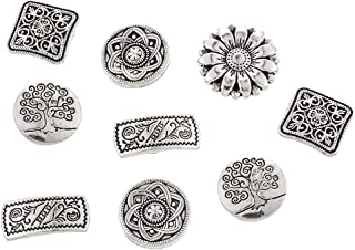 Souarts 50Pcs Metal Buttons Mixed Antique Silver Round Buttons Flower Shape