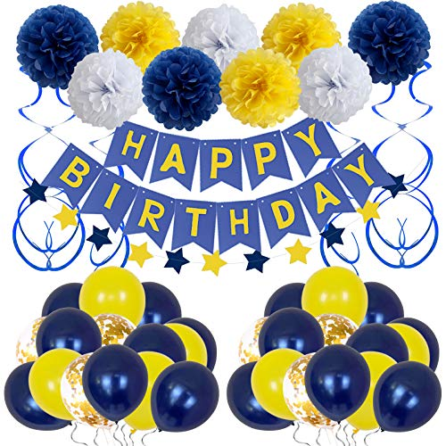 Birthday Decorations, Happy Birthday Party Supplies Bunting Banner for Men Women Boys Girls Navy Blue Yellow Tissue Paper Pom Poms Hanging Swirls Confetti Latex Balloons13th 16th 18th 21st 30th 40th