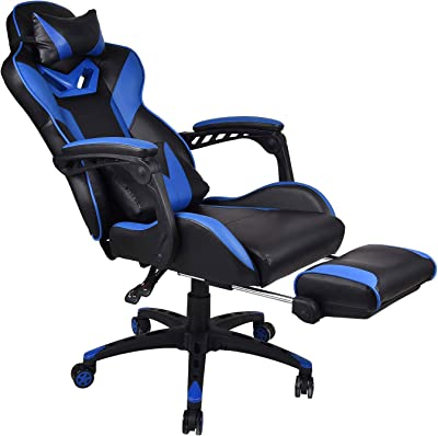 Massage Gaming Stuhl Mit Fußstütze Verstellbarer Hohe Rückenlehne Computer Schreibtisch Bürostuhl Drehbarer Ergonomischer Stuhl Mit Kopfstütze Küche Haushalt