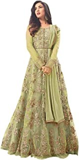 a6d9cbc839 Fancy Lifestyle woman's Net Heavy Embroidered with Stone work Semi-Stitched Anarkali  Gown (Free
