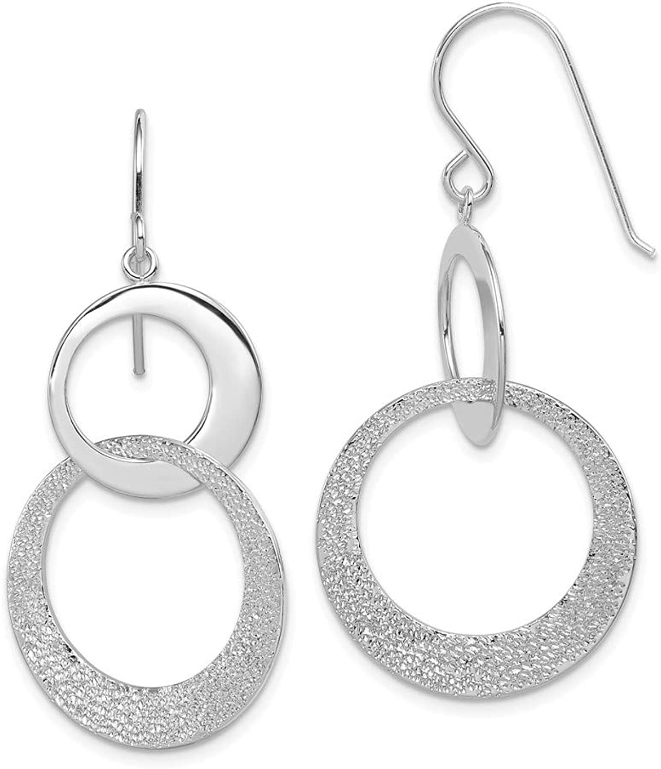 Beautiful Sterling silver 925 sterling Sterling Silver Textured & Polished Interlocking Circles Earrings